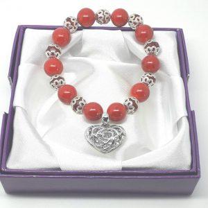 Rhinestone heart red bracelet