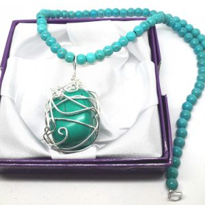 Wirewrapped Turquoise Nugget Pendant